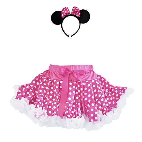 Girl and Toddler Red or Pink Polka Dot Tutu & Headband Costume Set (Medium, Pink) -