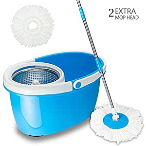 Valuebox 360° Spin Bucket System Mop with Extended Length Handle Stainless Steel Basket 2 Microfiber Mop Heads,Purple Blue Green (Blue)