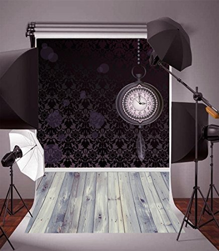 Tech 12' Wall Clock - Leyiyi Photography Background 3x5ft Vintage Clock and Wood Floor Wall Antique Pattern Photo Photo Backdrop Baby Kids Child Cute Pet Portrait Studio Props