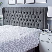 Maxwell Queen or Double Wingback Tufted Headboard - Grey