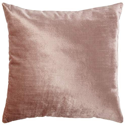 Rivet Contemporary Shiny Luxe Velvet Throw Pillow – 17 x 17 Inch, Blush
