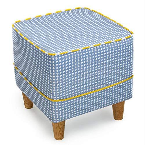 LDM Rollsnownow Azul Claro Impresion de Punto de Onda Cuadrada con un Taburete de Tela Sofa de Tela Cambiar el Taburete de Zapatos Taburete Moderno