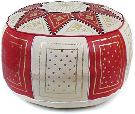 IKRAM DESIGN Fez Moroccan Leather Pouf