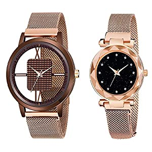 TMESPACE Analog Open Dial Magnetic Couple Watch for Boy's & Girl's