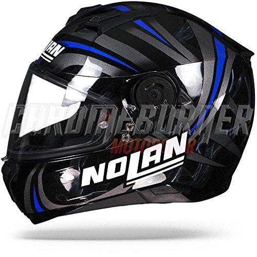 Amazon.es: Nolan N87 LEDLight casco integral moto policarbonato N-Com, Negro Brillante Azul