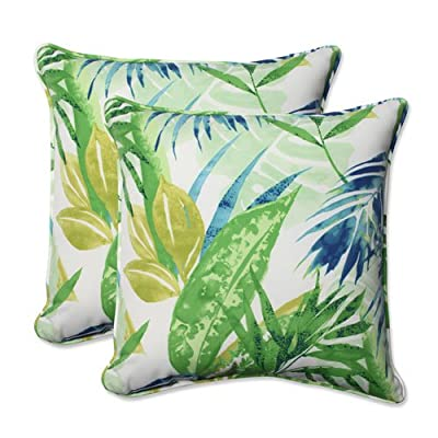 "Pillow Perfect Outdoor/Indoor Soleil Throw Pillow (Set of 2), 18.5"", Blue/Green - Includes two (2) outdoor pillows, resists weather and fading in sunlight; Suitable for indoor and outdoor use Plush Fill - 100-percent polyester fiber filling Edges of outdoor pillows are trimmed with matching fabric and cord to sit perfectly on your outdoor patio furniture - patio, outdoor-throw-pillows, outdoor-decor - 51Y1xU6c0NL. SS400  -"