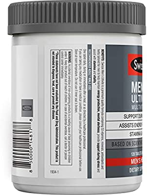 Swisse Premium Ultivite Daily Multivitamin for Men | Energy & Stress Support, Rich in Antioxidant & Minerals | Vitamin A, Vitamin C, Vitamin D, Biotin, Calcium, Zinc & More | 120 Tablets