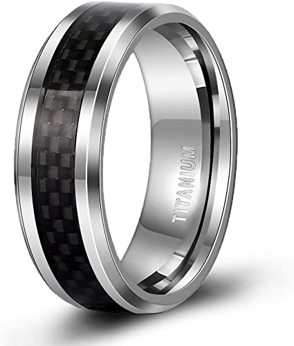 Tigrade 8mm Men S Titanium Black Carbon Fiber Inlay Beveled Edges