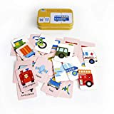 32pcs Baby Infant Flash Card Jigsaw cognition Puzzle Shape Matching Puzzle Cognitive Learning Early Education Card Learning Toys in a Box - Traffic Vehicle Cars