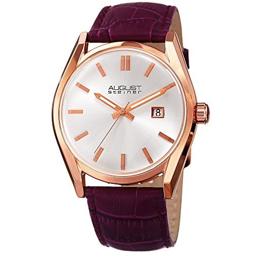August Steiner Women's Rose-Tone Case with White Dial and Alligator Embossed Genuine Leather Purple Strap Watch AS8221PU