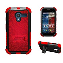 Tri Shield For Motorola Moto X 2nd Gen Case Kickstand Heavy Duty Armor Shock Proof Screen protector Black Red TPU Red Silk Blossom