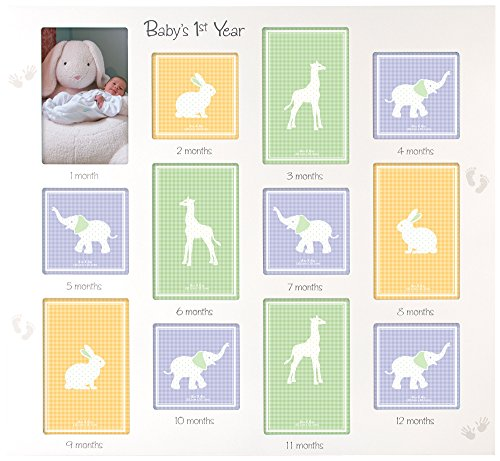 Malden International Designs Baby's 1st Year Wall Collage Picture Frame, 12 Option, 6-4x6 & 6-4x4, White