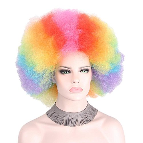 (Clown Wig Fluffy Afro Wigs Synthetic Big Top Halloween Costumes)