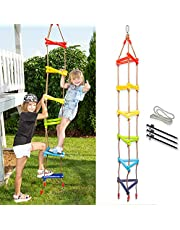 Triangle rope Ladder for Kids with Ground anchoring - Outdoor or Indoor Climbing Rope Ladder for Ninja Slackline, Backyard, Playground, Home Gym, Basement, Fitness Class, Camping Trip, Park, Treehouse