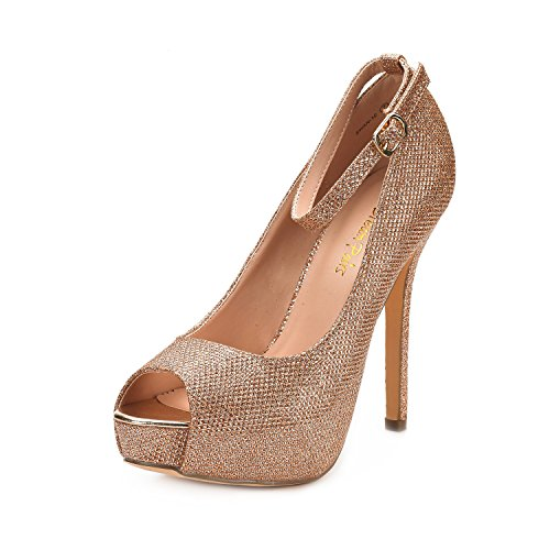 Black Peep Toe Heels (Dream Pairs Women's Swan-10 Champagne High Heel Plaform Dress Pump Shoes - 8.5 M US)