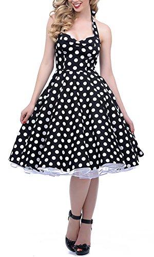 BI.TENCON 1950s Black Halter Style Vintage Polka Dot Swing Dress S - Halter Vintage Tie