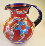 Mexican Glass Margarita or Ice Tea Pitcher, Red, Hand Painted With Various Flowers Designs
