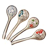 Pretty Hand-printed Ceramic Spoons with Comfortable size for Eating Soups,Set of 4 Long handle Hook Spoon Soup Spoon Hand-crafted Tableware