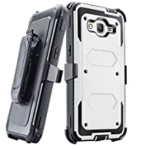 Grand prime Case,Galaxy G530 Case,LUOLNH Heavy Duty Shockproof Durable Full Body Protection Rigged Hybrid Case with belt clip holster and Kickstand for Samsung Grand Prime G530H/G5308W(White)