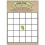 Bingo Games, Farmer's Market Burlap Baby Shower, Baby Shower Bingo Game, Burlap Printed Design, Green, Black, Tan, Green, Corn, Carrots, Baby Shower Games, 24 Printed Game Cards