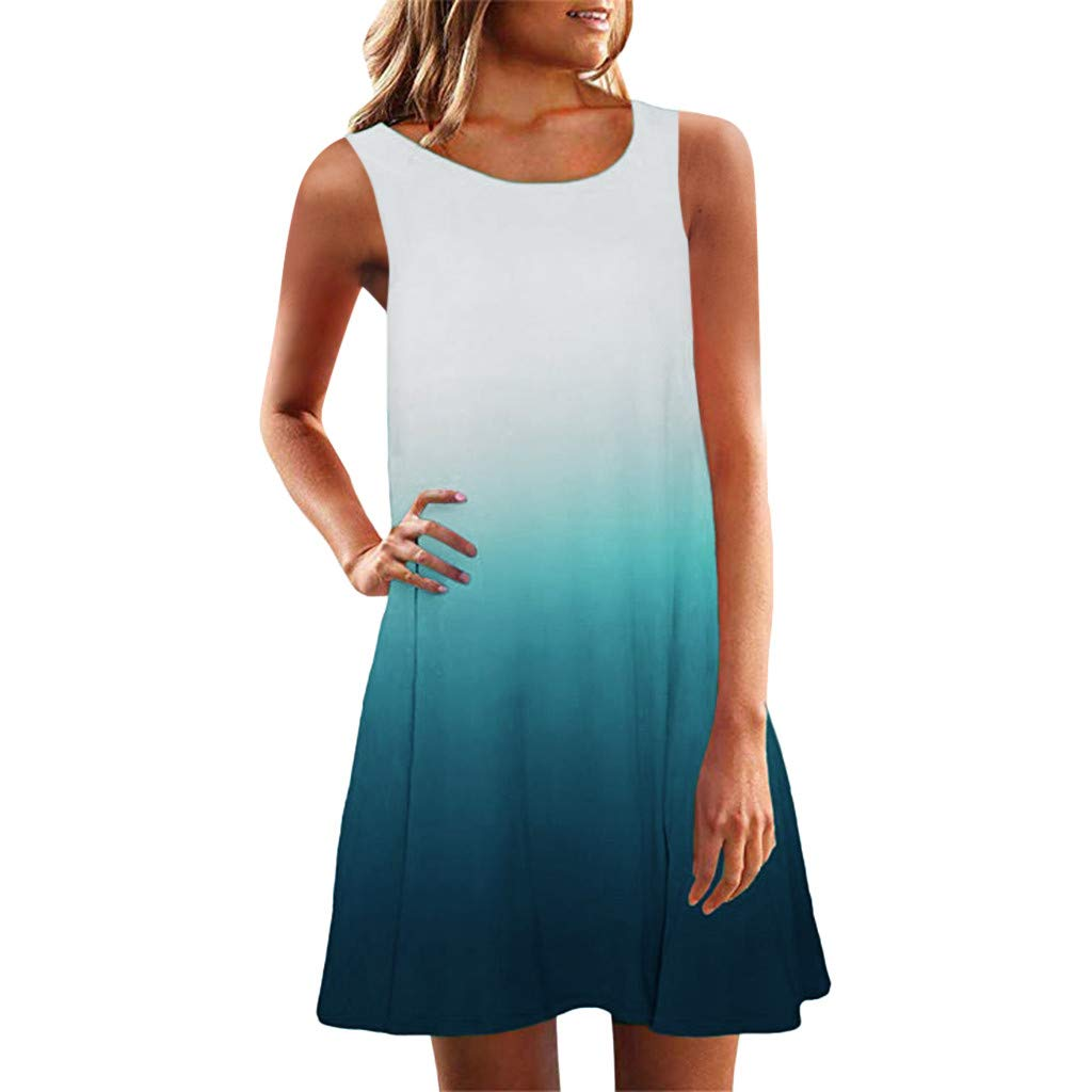 Women Tank Mini Dress Sleeveless Crew Neck Casual Loose Fitting Gradient Comfortable Flexible Summer Holiday Daily Relaxed Dresses