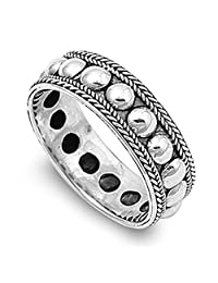 Noureda Sterling Silver Rope and Bead Design Bali Ring with Ring Face Height of 7MM