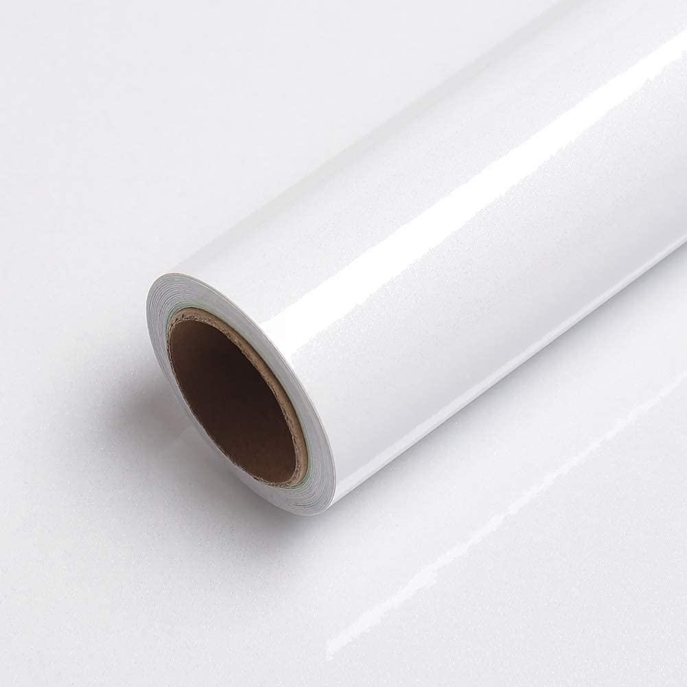LaCheery 15.8x79in High Gloss White Contact Paper Removable Wallpaper Peel and Stick for Cabinets Stick on Countertops Backsplash Drawer Shelf Liner Furniture Makeover Decorative Self Adhesive Film