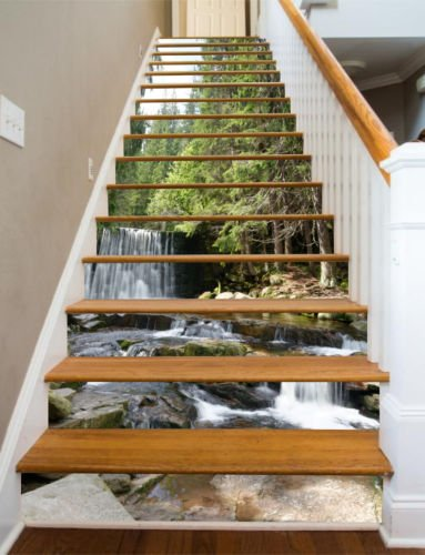 3D Forest Tropical 13 Stair Risers Decoration Photo Mural Vinyl Decal Wallpaper Murals Wallpaper Mural US (15x H:18cm x W:94cm (7''x37''))