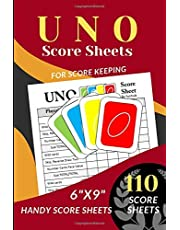 """UNO Score Sheets: 110 Handy Score sheets (Score Record Book for UNO Card Game) Score Pads for UNO Funny Game (Handy Score cards 6"""" x 9"""")"""