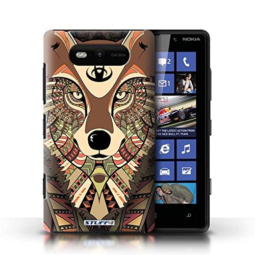 Etui / Coque pour Nokia Lumia 820 / Loup-Sépia conception / Collection de Motif Animaux Aztec