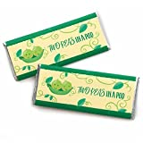 Double the Fun - Twins Two Peas in a Pod - Candy Bar Wrapper Baby Shower or First Birthday Party Favors - Set of 24