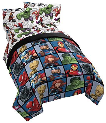 Jay Franco Marvel Avengers Team Twin Comforter - Super Soft Kids Reversible Bedding - Fade Resistant Polyester Microfiber Fill (Official Marvel Product)