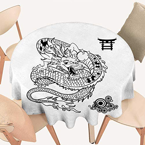 haommhome Japanese Dragon Wrinkle Free Tablecloths Tattoo Art Style Mythological Dragon Figure Monochrome Reptile Design Round Tablecloth D 36