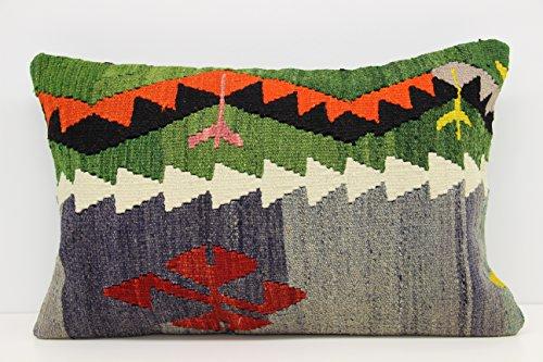 Handmade kilim pillow cover 16x24 inch (40x60 cm) Bohemian lumbar Kilim pillow cover Home Design Anatolian Pillow cover Kilim Cushion Cover (Anatolian Striped Kilim Rug Cushion)