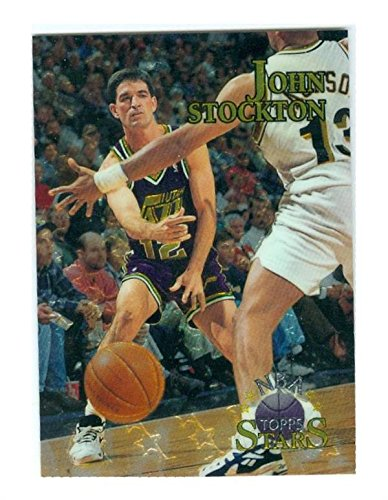 John Stockton basketball card (Utah Jazz Hall of Fame) 1996 Topps Stars #43 Refractor (Refractors Card Basketball)