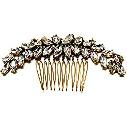 Yours & Beautiful Women's Elegant Flower Arch Gold Color Crystal Hair Comb Barrette