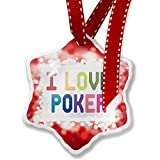 Christmas Ornament I Love Poker,Colorful, red - Neonblond
