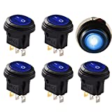 Round Rocker Switch Blue Led Lightronic 12V DC 20 Amp On/Off Waterproof Auto Boat 3P SPST Rocker Toggle Switch(5Pcs,Blue)