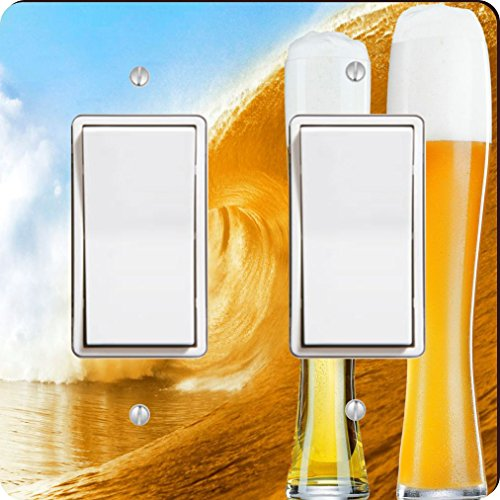 Rikki Knight 1038 Double Rocker Glasses of Beer on Beer Wave Design Light Switch Plate by Rikki Knight