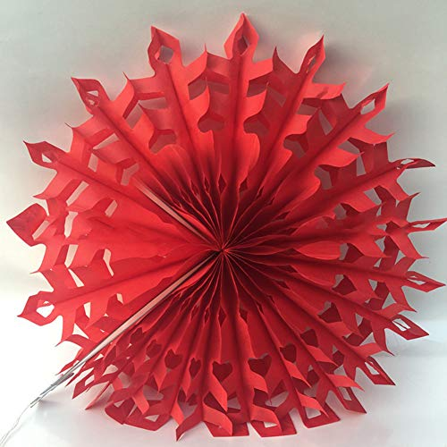 Dds5391 New Hollow Tissue Hanging Snowflake Paper Fans Home Garden Wedding Wall Decoration - Red from dds5391