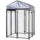 PawHut 50' x 46' Outdoor Galvanized Metal Dog Kennel Playpen with Durable Tarp Cover