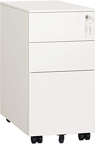 DEVAISE 3 Drawer Mobile File Cabinet with Lock, Narrow Metal Filing Cabinet for Legal Letter A4 Size, Fully Assembled Except Wheels, White