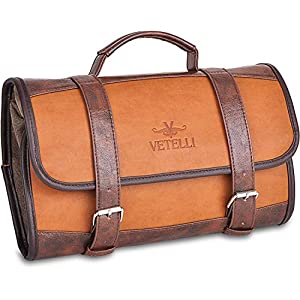 Vetelli Hanging Leather Toiletry Bag for Men, Perfect For Travel, Extra Storage, Water Resistant