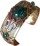 Hand Polished Antique Brass Art Deco Motif Cuff Bracelet - Chrysocolla