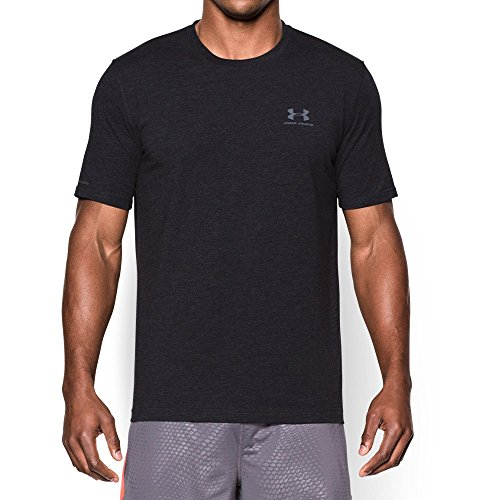 Under Armour Men's Charged Cotton Sportstyle T-Shirt, Black/Steel, Medium Fast Black T-shirt