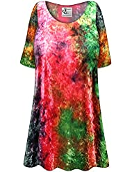 Sanctuarie Designs Crush Velvet Tie Dye Plus Size Extra Long A-Line Top
