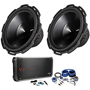 "Package: (2) Rockford Fosgate Punch P3D4-15 15"" Dual 4 Ohm Car Subwoofers Totaling 2400W Peak/1200W RMS + Rockville RXD-M4 1500 Watt RMS - CEA Compliant Mono Class D 1 Ohm Car Amplifier + Rockville RWK0CU 0 Gauge 2 Channel Complete Amp Kit"