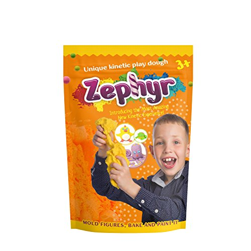 Zephyr Unique Kinetic Play Dough, Orange, 300G Resealable Bag (Zephyr Bag)
