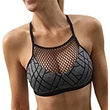 2018 New Women Print Athleisure Bra Camisole Hot Yoga Mesh Vest Short Blouse Gym Top by TOPUNDER