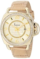 Freelook Unisex HA1093G-3 Stainless Steel Watch with Leather Band and Swarovski Crystals